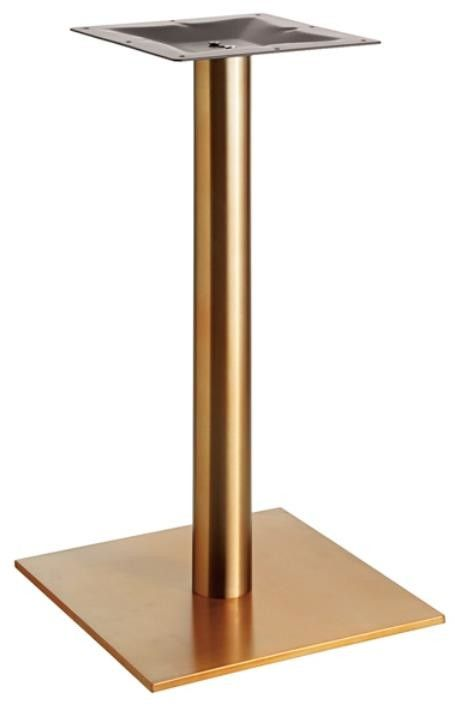 Square Stainless Steel Table Legs Bright Golden Color Dining Table Height 28''